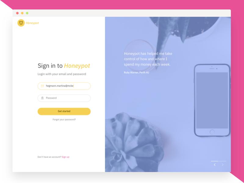Honeypot UI Kit - Login page by Ben Low on Dribbble
