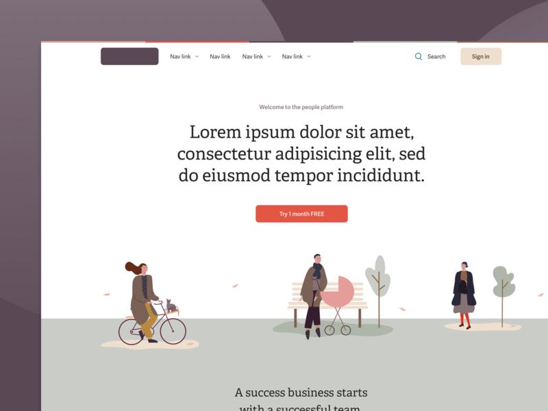 Homepage exploration - Autumn illustrations autumn sketch ui design desktop