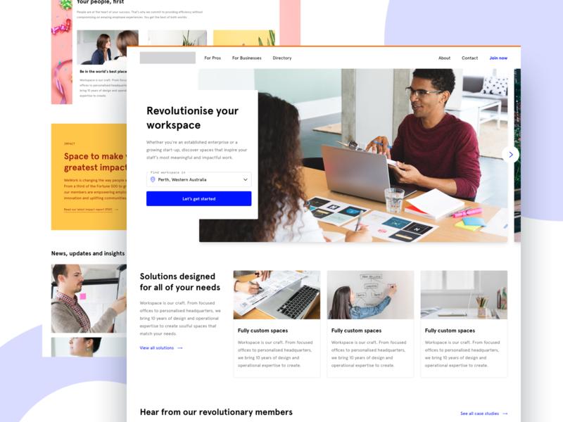 WeWork homepage - Design practice (.sketch) apercu agency practice homepage sketch ui responsive web design desktop wework