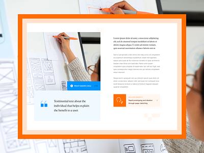 Article and testimonial design exploration quote component blog articles practice article testimonial sketch ui desktop web design