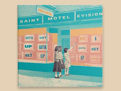 #8 Saint Motel - Saintmotelevision album cover vinyl television muted retro grain xerox texture collage saint motel