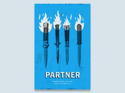 Partner Gig Poster band live music gig poster fire knife texture