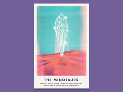 Minotaurs Gig Poster retro band music noise desert psychedelic texture gig poster
