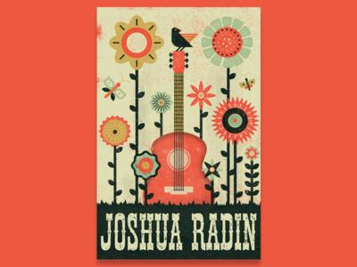Joshua Radin Gig Poster butterfly acoustic folk guitar birds flowers texture gig poster joshua radin