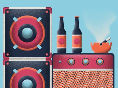 W.I.P Beer Label geometric illustration texture smoke cigarette music rock amps beer beer label