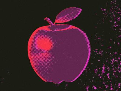 Apple fruit venue live rock music halftone rough copier texture gig poster