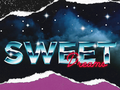 Sweet Dreams sweet dreams retro 80s typography neon ugly stars night