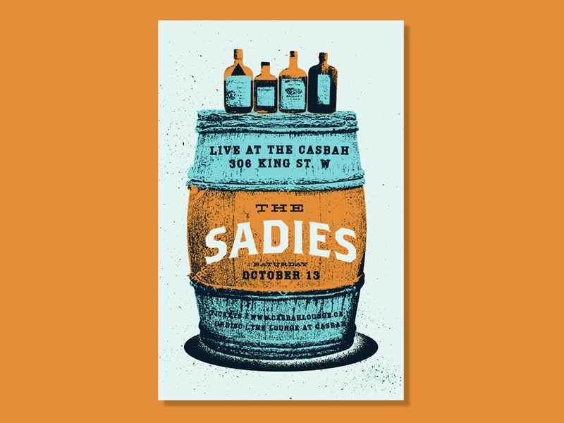 The Sadies texture music the sadies whiskey western barrel gig poster
