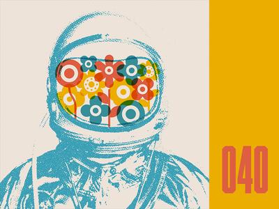 Everyday - 040 silkscreen astronaut flowers space everyday