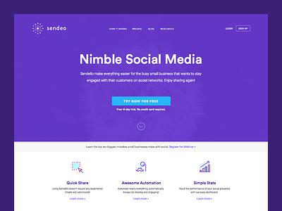 Sendeo Social Homepage products sass web ui homepage social