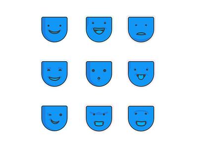 Biggie icons emotion faces branding illustration