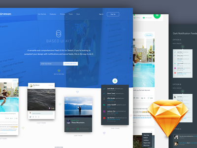 Based UI Kit for Sketch : Free  activity feeds ux kit activity streams feeds sketch ui kit freebie free