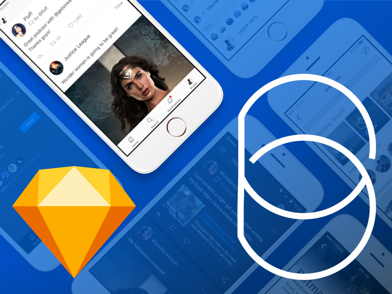 Based Mobile UI Kit for Sketch : Free  social media kit ux kit mobile ui kit ui kit sketch freebie android ui kit ios ui kit