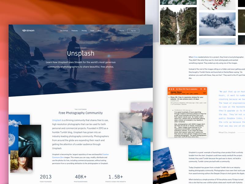 Unsplash + Stream landing page home page news feeds developers activity feed marketing unsplash case study