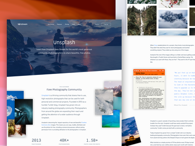 Unsplash + Stream landing page home page news feeds developers activity feed marketing unsplash case study