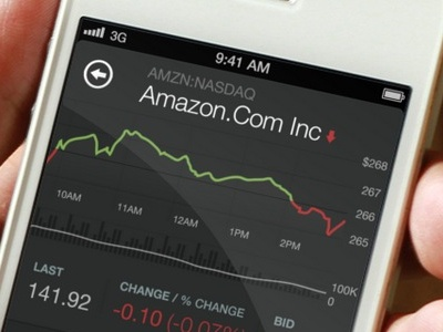 Stocks Highlight  icon app web app stocks amzn amazon green red graph ui dark ui flat easy clean ios iphone
