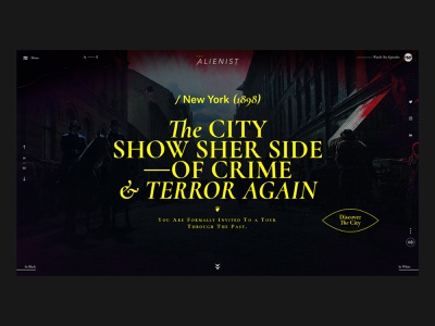 The Alienist page layout interface website desktop web crime type series home page design ux ui concept