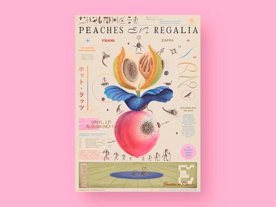 Peaches en Regalia editorial aesthetic illustration typography graphic poster a day color layout plants music zappa peaches nature poster design poster