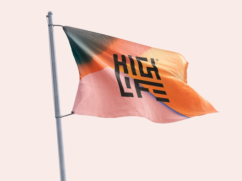 Highlife gradient color graphic isometry logo flag design identity branding flag