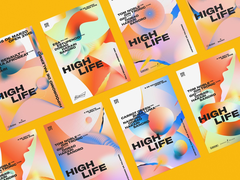 Highlife music festival color gradient design graphic illustration poster logo identity