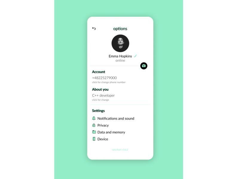user options menu for online messenger ios online ux ui messenger app messenger menu options user dailyui
