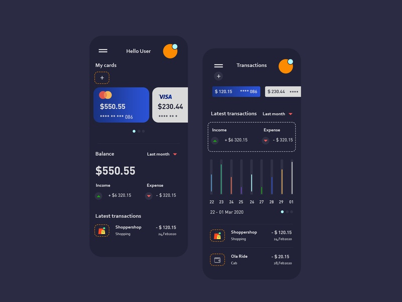 Wallet & Transactions UI | Dark Theme bankapp money transaction profiles mobile ui ios branding wallet ux ui8 profile mobile inspiration iconspace icon flat app design cards banking app