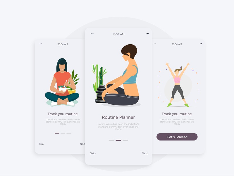 Onboarding for Fitness App branding ui appointment booking mobile design food yoga onboarding ui onboarding screens mobile ui app design mobile people illustration fitness people onboarding health character appointment app