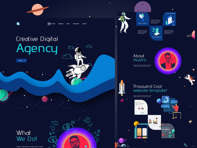 Creative studio landing page webdesign agency website ui ux typography startup minimal agency landing page digital illustration gradient digital creative colorful character business agency branding agency 2020 trend