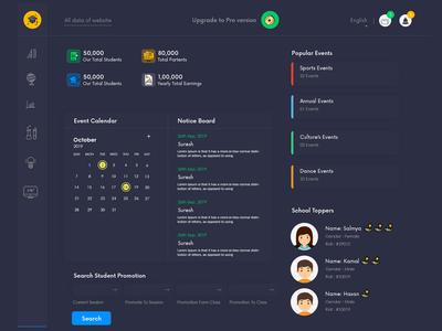Dashboard Dark Interface | Student Datas | Dark Theme