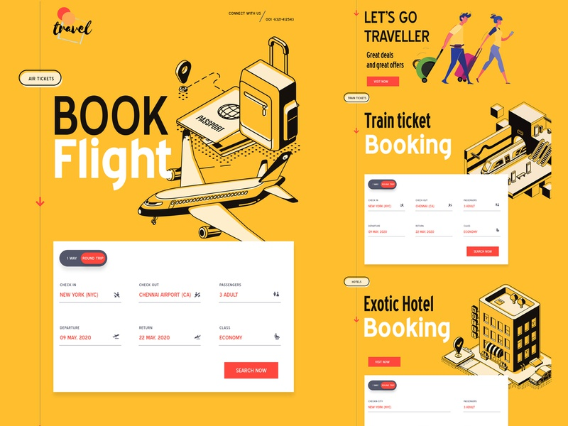 Online Booking|| Landing Page relax trips typography graphics cable clean ui trip traveling travel app time simple plane paris icons emirates clean booking bar airlines add aircraft