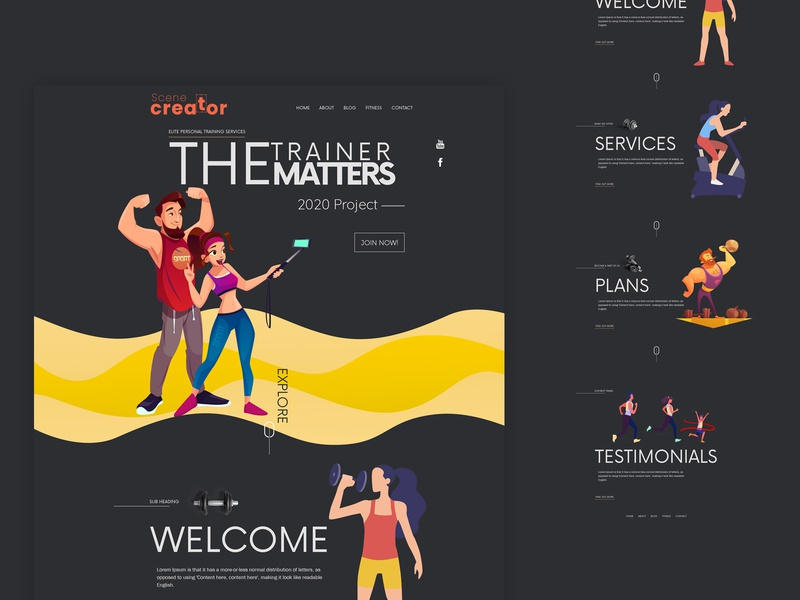 Gym - Landing page healthcare uiux women clean blog editorial design grid layout colors colorful workout app website web design running landing page homepage female exercise health grid fitness