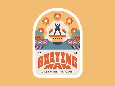 Boating Man 2020 illustration lake shasta logo boat vector burning man boating man sticker