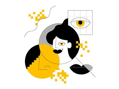 OKCoin Illos escher weird crypto vector illustration