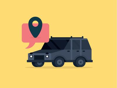 Vrooooom! flat illustration message location uber car