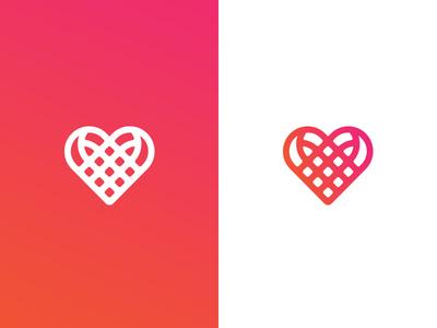 Ribbon vs Heart vs Compartments ribbon heart vector gradient logo