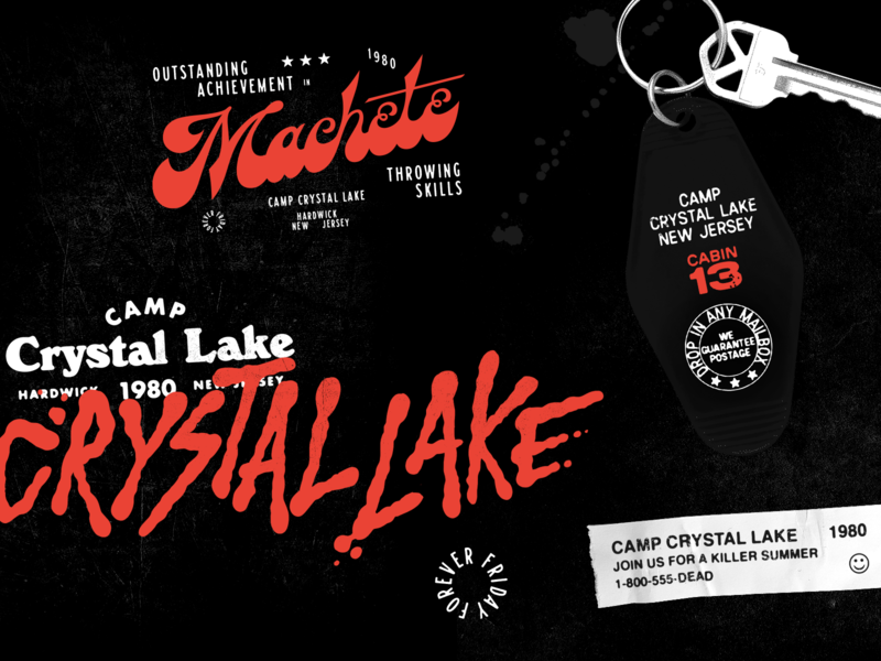Camp Crystal Lake crystal lake camp crystal lake spooky scary friday the 13th typography horror