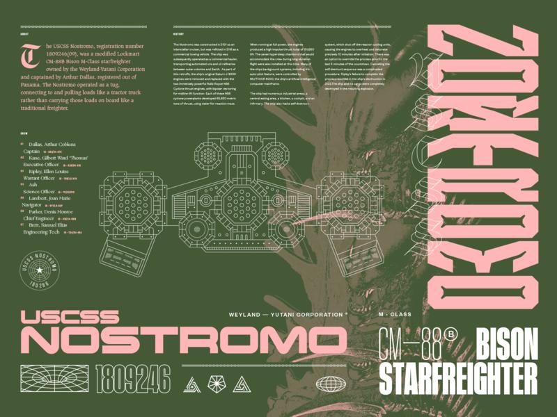USCSS Nostromo sigourney weaver futuristic typography scary spooky space horror uscss nostromo alien