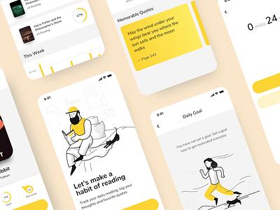 One Read - A Reading Tracker App app ux reading app ui ux design app design iphone app ui design