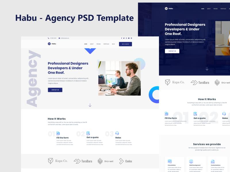 Habu Agency PSD Template habu creative agency agency website ui ux ui