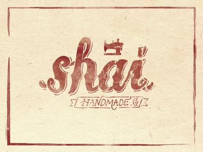hand lettered logotype for shai handmade