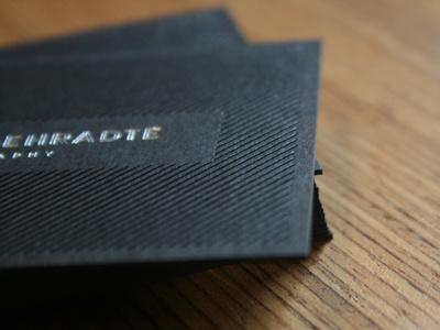Kristian Gehradte Business Card jet black optix card black foil stamp silver foil custom logotype