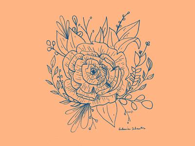 Floral Linework design branding stationery illustrate draw hand drawn floral illustration illustration botany floral