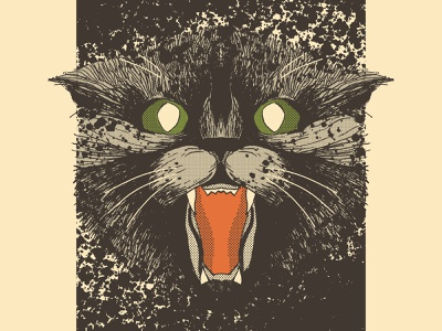 Pet Sematary—Church the Cat muted palette muted colors muted color halftone linework print design halloween design poster art horror halloween theme halloween illustration halloween cat illustration pet sematary stephen king illustration poster poster designer movie poster