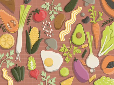 Meatless meals - Things to do about Climate Change visual art procreate digital drawing 36daysoftype fruits veggies vegetarian vegetables kawai illustration food