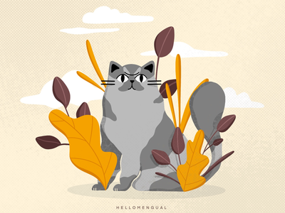 Always looking fur-ward minimal flat background design characterdesign character design digital illustration visual art children illustration digital drawing kitten animals visual development procreate illustration cute cat color nature plants cats cat