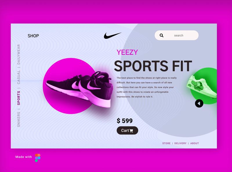 sports Landing page website minimal illustration design logo nike branding vector ui ux figma