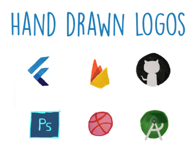 handdrawnlogos hand drawn android studio dribbble photoshop github firebase flutter logos