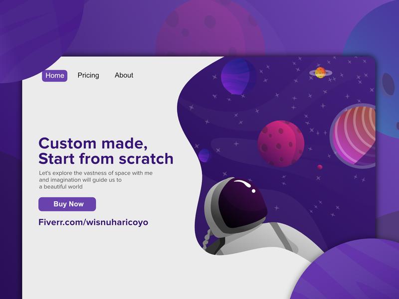 flat illustration for website astronaut landing page design landing page illustration