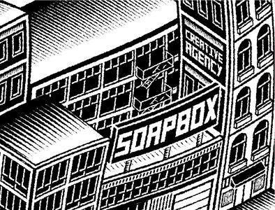 Soapbox City Illustration social media poster design ginger style new unique clean isometric illustration blackandwhite engraving isometric design illustration