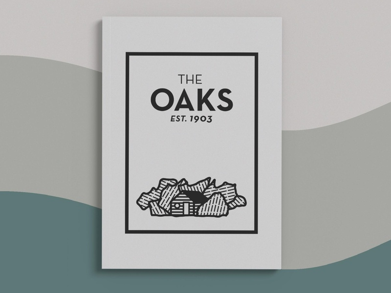 The Oaks - Logo and Illustration menu skilled canyon ogden utah 1903 resturant engraving clean blackandwhite illustration logo design
